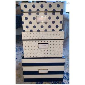🆕 KATE SPADE NESTING-BOXES -Navy Set of 3